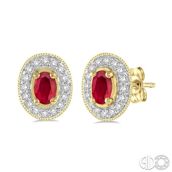 5x3mm Oval Cut Ruby and 1/4 Ctw Round Cut Diamond Earrings in 14K Yellow Gold Robert Irwin Jewelers Memphis, TN