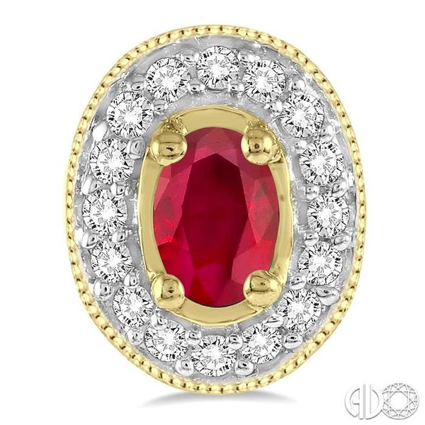 5x3mm Oval Cut Ruby and 1/4 Ctw Round Cut Diamond Earrings in 14K Yellow Gold Image 2 Robert Irwin Jewelers Memphis, TN