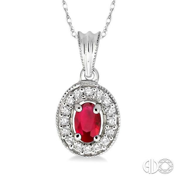 6x4mm Oval Cut Ruby and 1/5 Ctw Round Cut Diamond Pendant in 14K White Gold with Chain Robert Irwin Jewelers Memphis, TN