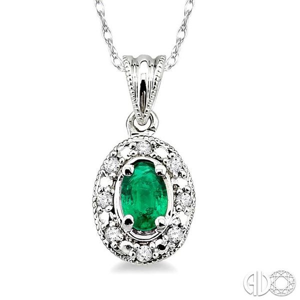 5x3mm Oval Shape Emerald and 1/20 Ctw Single Cut Diamond Pendant in 14K White Gold with Chain Robert Irwin Jewelers Memphis, TN