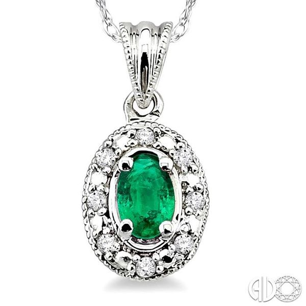 5x3mm Oval Shape Emerald and 1/20 Ctw Single Cut Diamond Pendant in 14K White Gold with Chain Image 3 Robert Irwin Jewelers Memphis, TN