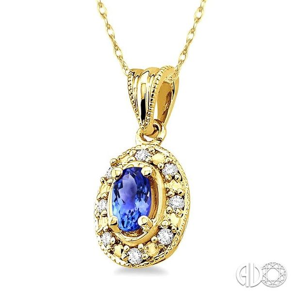 5x3mm Oval Shape Tanzanite and 1/20 Ctw Single Cut Diamond Pendant in 14K Yellow Gold with Chain Image 2 Robert Irwin Jewelers Memphis, TN