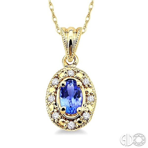 5x3mm Oval Shape Tanzanite and 1/20 Ctw Single Cut Diamond Pendant in 14K Yellow Gold with Chain Robert Irwin Jewelers Memphis, TN