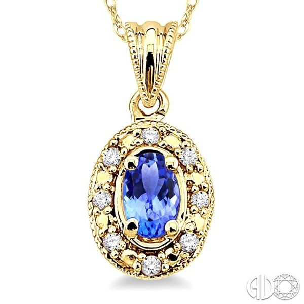 5x3mm Oval Shape Tanzanite and 1/20 Ctw Single Cut Diamond Pendant in 14K Yellow Gold with Chain Image 3 Robert Irwin Jewelers Memphis, TN