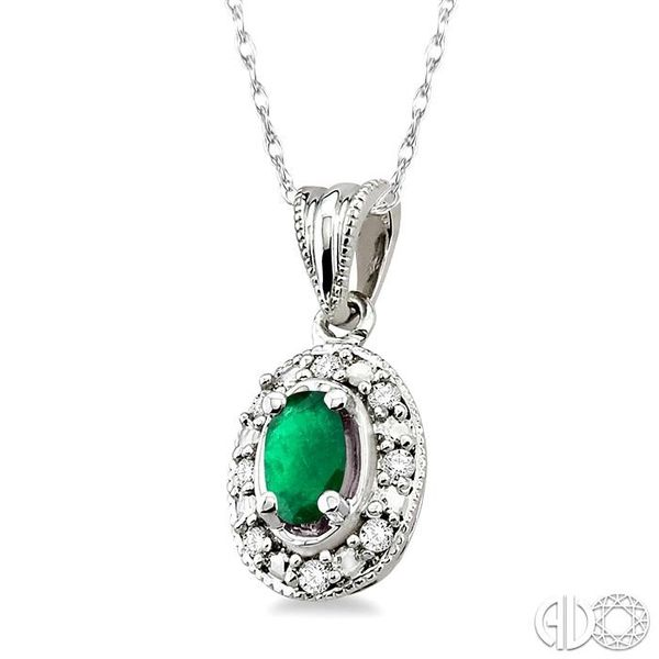 5x3mm Oval Shape Emerald and 1/20 Ctw Single Cut Diamond Pendant in 10K White Gold with Chain Image 2 Robert Irwin Jewelers Memphis, TN