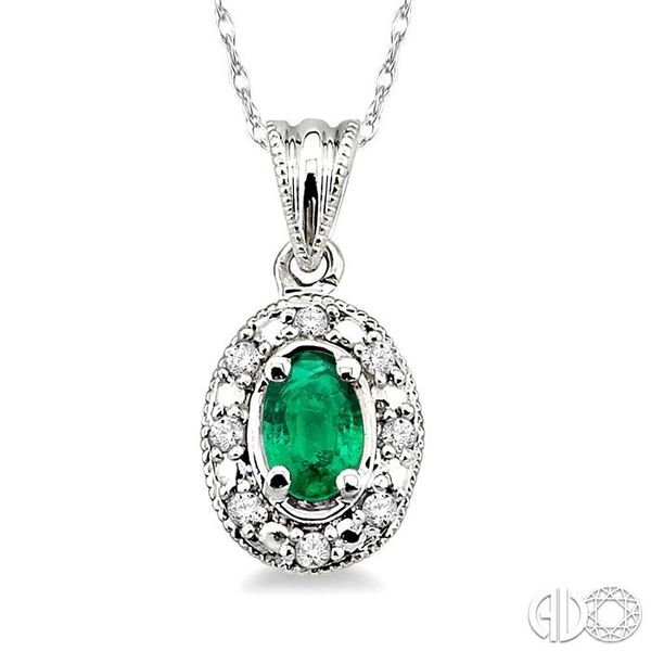 5x3mm Oval Shape Emerald and 1/20 Ctw Single Cut Diamond Pendant in 10K White Gold with Chain Robert Irwin Jewelers Memphis, TN