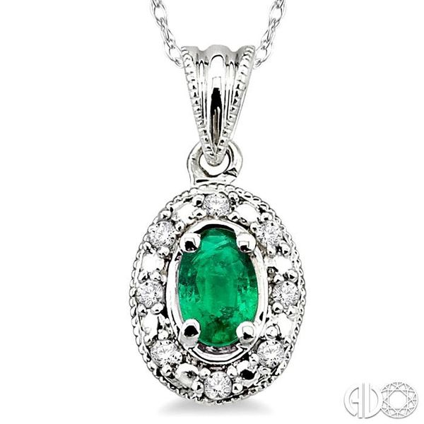 5x3mm Oval Shape Emerald and 1/20 Ctw Single Cut Diamond Pendant in 10K White Gold with Chain Image 3 Robert Irwin Jewelers Memphis, TN