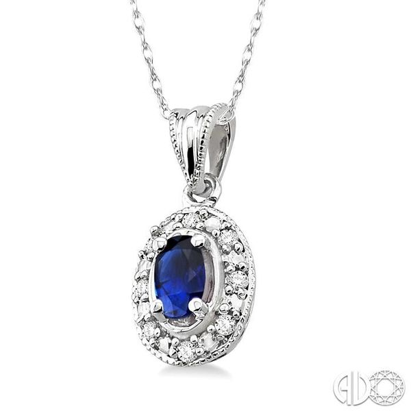 5x3mm Oval Shape Sapphire and 1/20 Ctw Single Cut Diamond Pendant in 10K White Gold with Chain. Image 2 Robert Irwin Jewelers Memphis, TN