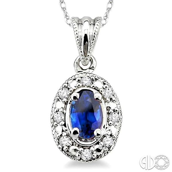 5x3mm Oval Shape Sapphire and 1/20 Ctw Single Cut Diamond Pendant in 10K White Gold with Chain. Image 3 Robert Irwin Jewelers Memphis, TN