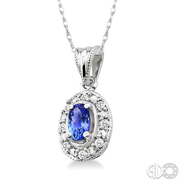5x3mm Oval Shape Tanzanite and 1/20 Ctw Single Cut Diamond Pendant in 10K White Gold with Chain. Image 2 Robert Irwin Jewelers Memphis, TN