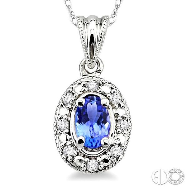 5x3mm Oval Shape Tanzanite and 1/20 Ctw Single Cut Diamond Pendant in 10K White Gold with Chain. Image 3 Robert Irwin Jewelers Memphis, TN