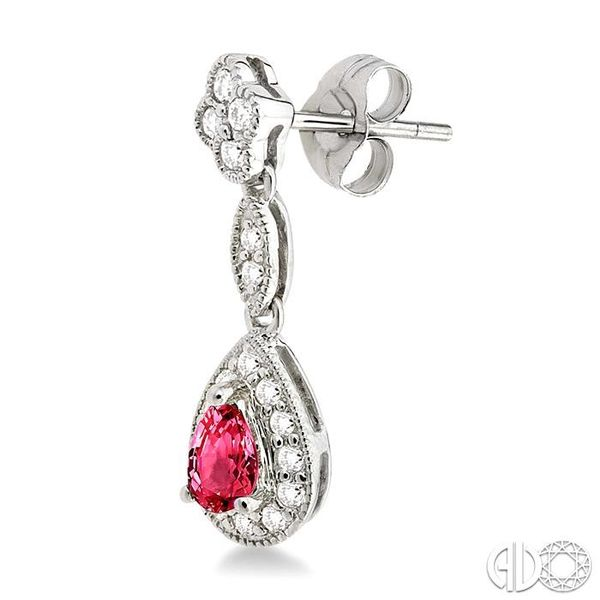 5x3MM Pear Shape Ruby and 1/3 Ctw Round Cut Diamond Earrings in 14K White Gold Image 3 Robert Irwin Jewelers Memphis, TN