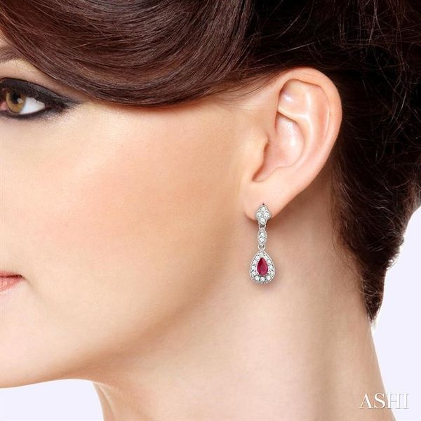5x3MM Pear Shape Ruby and 1/3 Ctw Round Cut Diamond Earrings in 14K White Gold Image 4 Robert Irwin Jewelers Memphis, TN