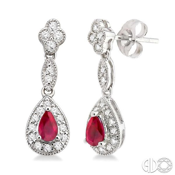 5x3MM Pear Shape Ruby and 1/3 Ctw Round Cut Diamond Earrings in 14K White Gold Robert Irwin Jewelers Memphis, TN