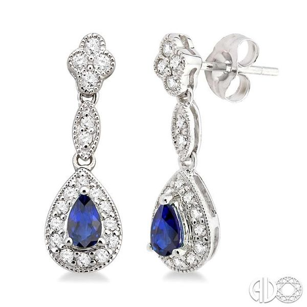 5x3MM Pear Shape Sapphire and 1/3 Ctw Round Cut Diamond Earrings in 14K White Gold Robert Irwin Jewelers Memphis, TN