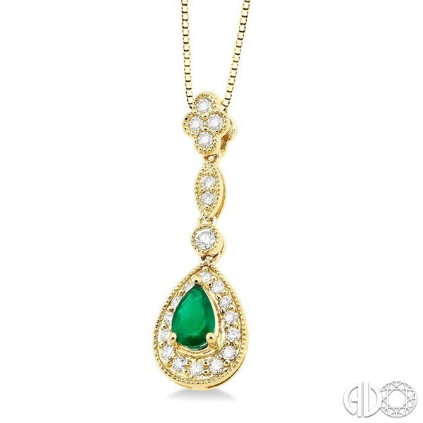 6x4MM Pear Shape Emerald and 1/4 Ctw Round Cut Diamond Pendant in 14K Yellow Gold with Chain Image 2 Robert Irwin Jewelers Memphis, TN