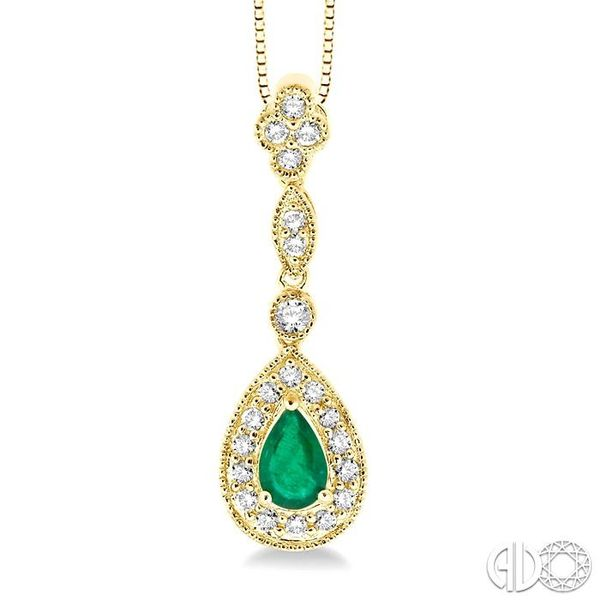6x4MM Pear Shape Emerald and 1/4 Ctw Round Cut Diamond Pendant in 14K Yellow Gold with Chain Robert Irwin Jewelers Memphis, TN