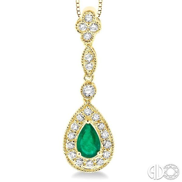 6x4MM Pear Shape Emerald and 1/4 Ctw Round Cut Diamond Pendant in 14K Yellow Gold with Chain Image 3 Robert Irwin Jewelers Memphis, TN