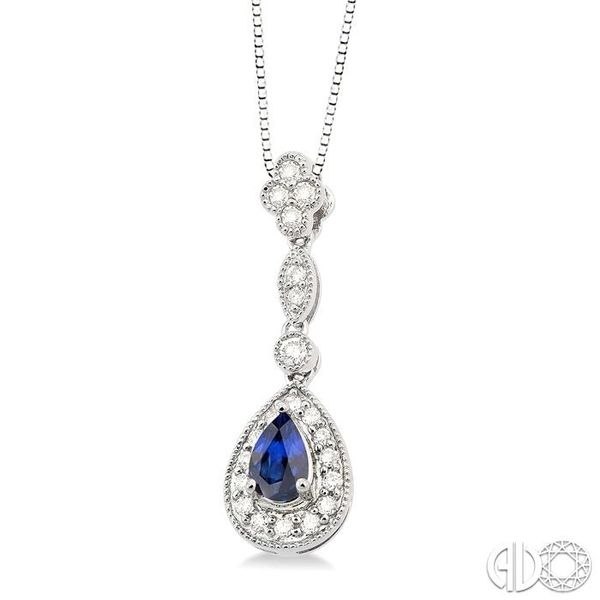 6x4MM Pear Shape Sapphire and 1/4 Ctw Round Cut Diamond Pendant in 14K White Gold with Chain Image 2 Robert Irwin Jewelers Memphis, TN