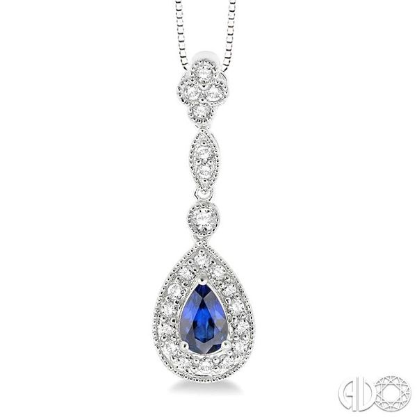 6x4MM Pear Shape Sapphire and 1/4 Ctw Round Cut Diamond Pendant in 14K White Gold with Chain Robert Irwin Jewelers Memphis, TN