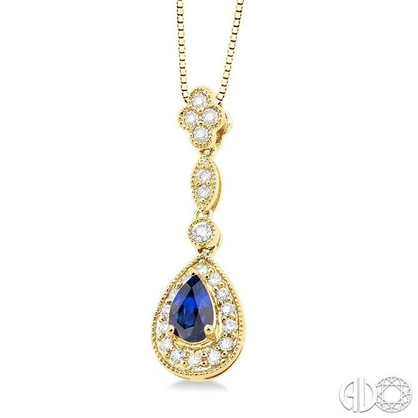 6x4MM Pear Shape Sapphire and 1/4 Ctw Round Cut Diamond Pendant in 14K Yellow Gold with Chain Image 2 Robert Irwin Jewelers Memphis, TN