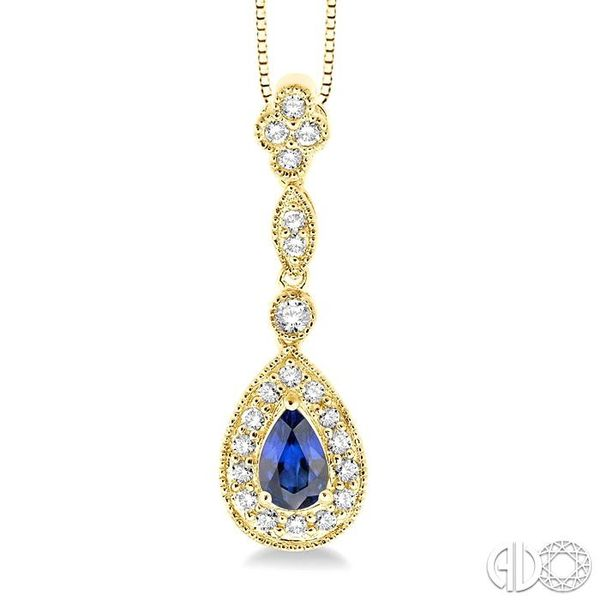 6x4MM Pear Shape Sapphire and 1/4 Ctw Round Cut Diamond Pendant in 14K Yellow Gold with Chain Robert Irwin Jewelers Memphis, TN