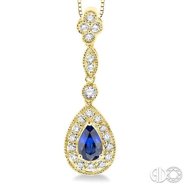 6x4MM Pear Shape Sapphire and 1/4 Ctw Round Cut Diamond Pendant in 14K Yellow Gold with Chain Image 3 Robert Irwin Jewelers Memphis, TN