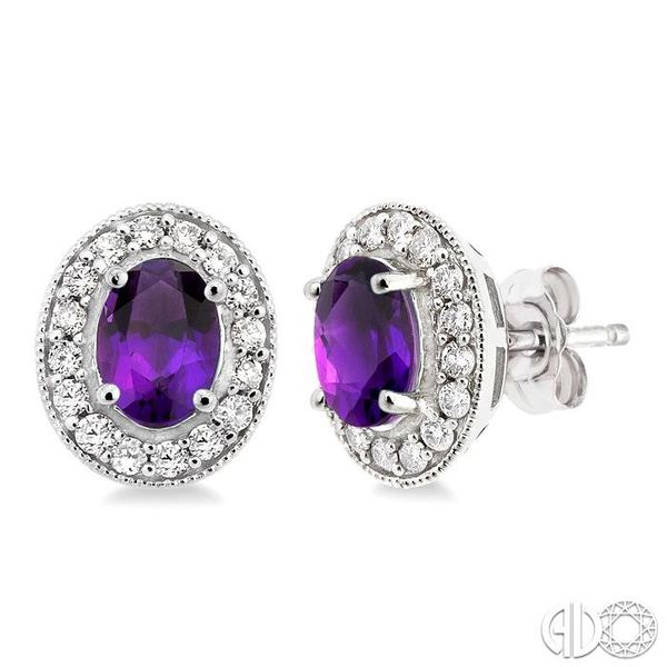 7x5MM Oval Cut Amethyst and 3/8 Ctw Round Cut Diamond Earrings in 14K White Gold Robert Irwin Jewelers Memphis, TN