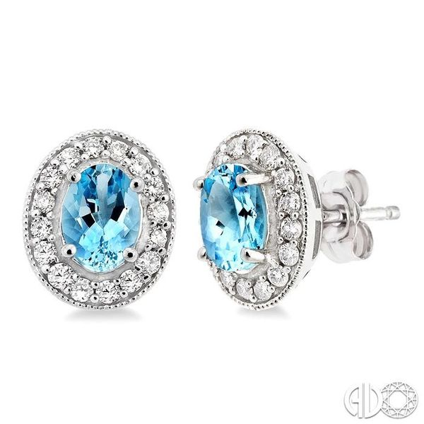 7x5mm Oval Cut Aquamarine and 3/8 Ctw Round Cut Diamond Earrings in 14K White Gold Robert Irwin Jewelers Memphis, TN