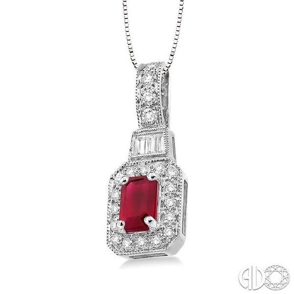 6x4 MM Octagon Cut Ruby and 1/4 Ctw Round and Baguette Cut Diamond Pendant in 14K White Gold with Chain Image 2 Robert Irwin Jewelers Memphis, TN