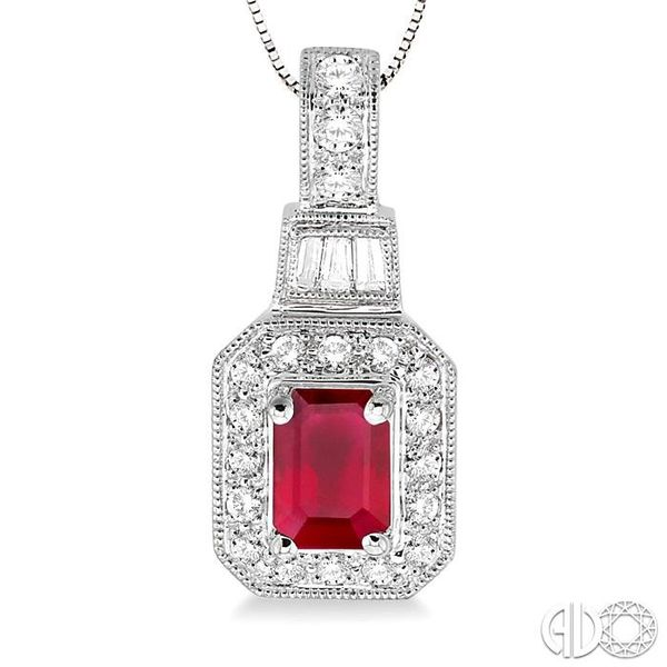 6x4 MM Octagon Cut Ruby and 1/4 Ctw Round and Baguette Cut Diamond Pendant in 14K White Gold with Chain Image 3 Robert Irwin Jewelers Memphis, TN