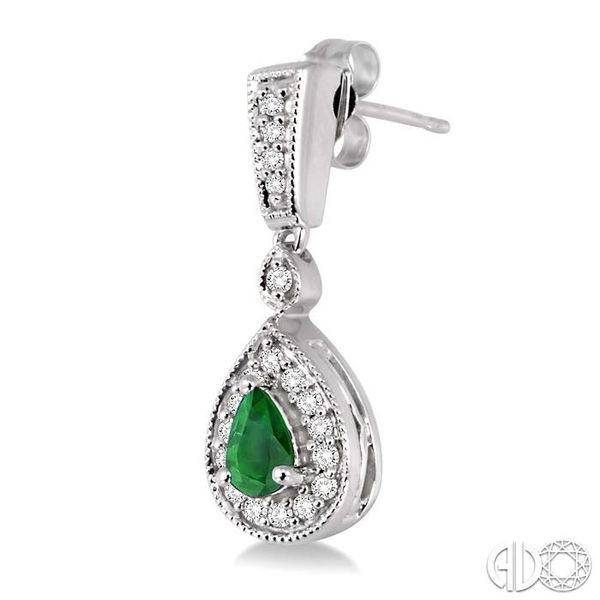 5x3MM Pear Shape Emerald and 1/3 Ctw Round Cut Diamond Earrings in 14K White Gold Image 3 Robert Irwin Jewelers Memphis, TN