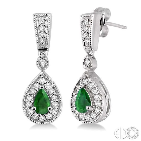 5x3MM Pear Shape Emerald and 1/3 Ctw Round Cut Diamond Earrings in 14K White Gold Robert Irwin Jewelers Memphis, TN