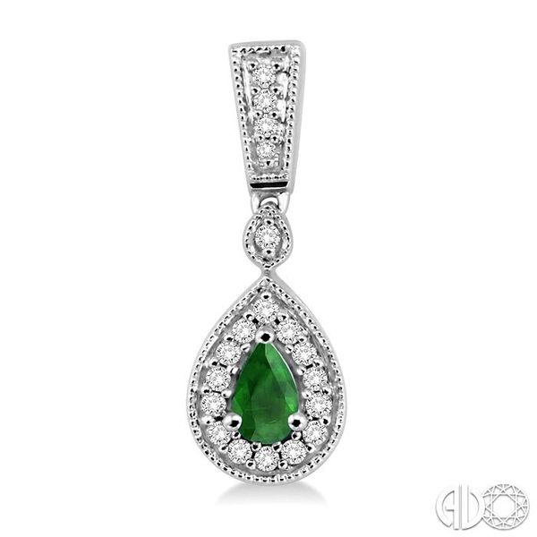 5x3MM Pear Shape Emerald and 1/3 Ctw Round Cut Diamond Earrings in 14K White Gold Image 2 Robert Irwin Jewelers Memphis, TN