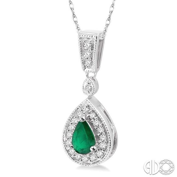 6x4mm Pear Shape Emerald and 1/6 Ctw Round Cut Diamond Pendant in 14K White Gold with Chain Image 2 Robert Irwin Jewelers Memphis, TN