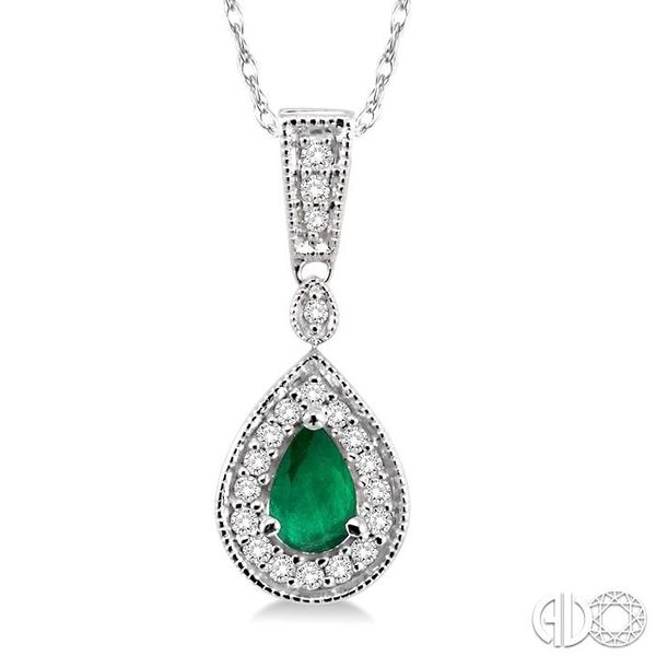 6x4mm Pear Shape Emerald and 1/6 Ctw Round Cut Diamond Pendant in 14K White Gold with Chain Robert Irwin Jewelers Memphis, TN