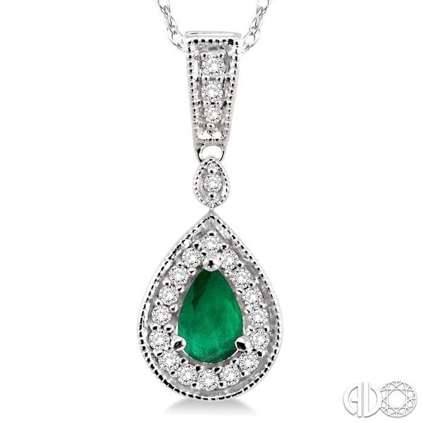 6x4mm Pear Shape Emerald and 1/6 Ctw Round Cut Diamond Pendant in 14K White Gold with Chain Image 3 Robert Irwin Jewelers Memphis, TN