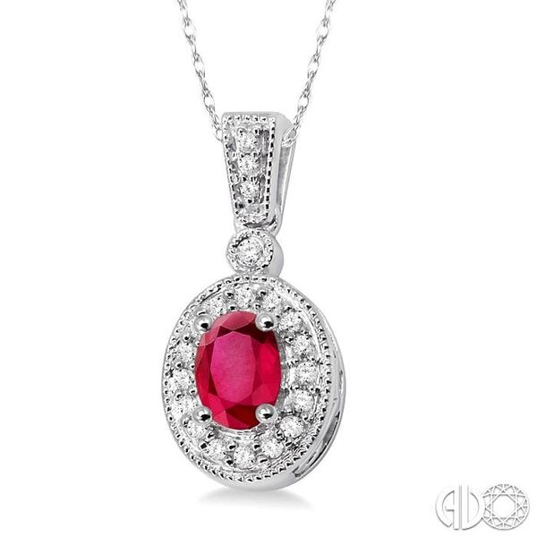 OVAL SHAPE GEMSTONE & DIAMOND PENDANT Image 2 Robert Irwin Jewelers Memphis, TN