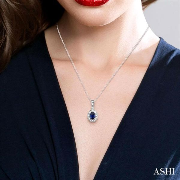 OVAL SHAPE GEMSTONE & DIAMOND PENDANT Image 4 Robert Irwin Jewelers Memphis, TN