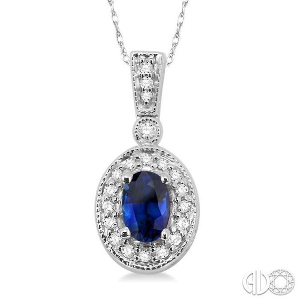 OVAL SHAPE GEMSTONE & DIAMOND PENDANT Robert Irwin Jewelers Memphis, TN