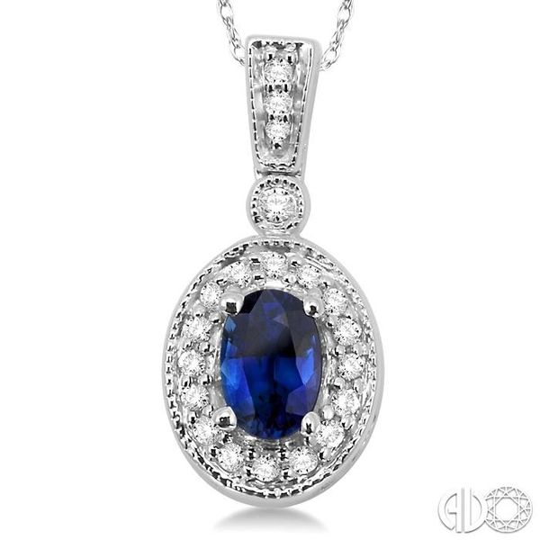OVAL SHAPE GEMSTONE & DIAMOND PENDANT Image 3 Robert Irwin Jewelers Memphis, TN
