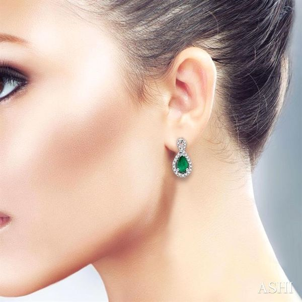 PEAR SHAPE GEMSTONE & DIAMOND EARRINGS Image 4 Robert Irwin Jewelers Memphis, TN