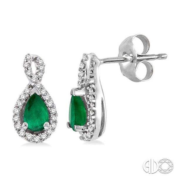 PEAR SHAPE GEMSTONE & DIAMOND EARRINGS Robert Irwin Jewelers Memphis, TN