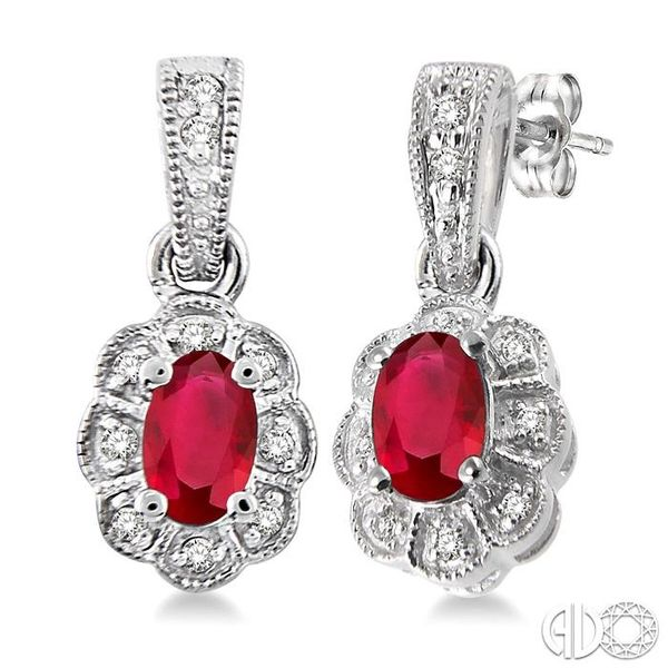 5x3mm Oval Cut Ruby and 1/10 Ctw Single Cut Diamond Earrings in 10K White Gold Robert Irwin Jewelers Memphis, TN
