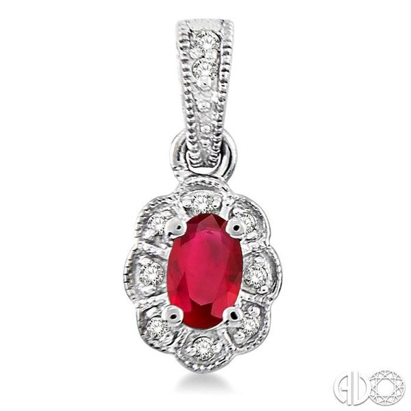 5x3mm Oval Cut Ruby and 1/10 Ctw Single Cut Diamond Earrings in 10K White Gold Image 2 Robert Irwin Jewelers Memphis, TN