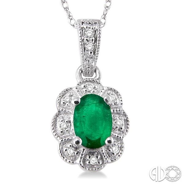 6x4mm Oval Cut Emerald and 1/20 Ctw Single Cut Diamond Pendant in 10K White Gold with Chain Image 3 Robert Irwin Jewelers Memphis, TN