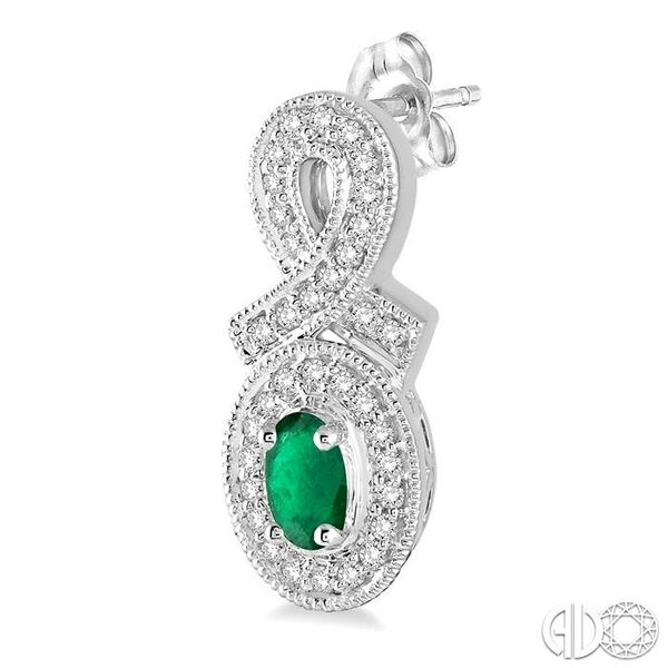5x3 MM Oval Cut Emerald and 1/3 Ctw Round Cut Diamond Earrings in 14K White Gold Image 3 Robert Irwin Jewelers Memphis, TN