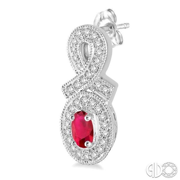 5x3 MM Oval Cut Ruby and 1/3 Ctw Round Cut Diamond Earrings in 14K White Gold Image 3 Robert Irwin Jewelers Memphis, TN