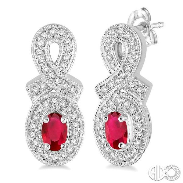 5x3 MM Oval Cut Ruby and 1/3 Ctw Round Cut Diamond Earrings in 14K White Gold Robert Irwin Jewelers Memphis, TN