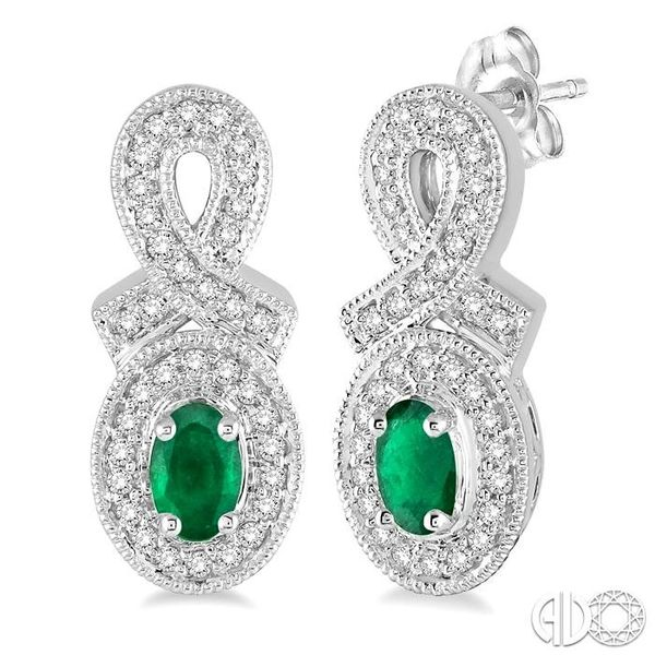 5x3 MM Oval Cut Emerald and 1/3 Ctw Round Cut Diamond Earrings in 10K White Gold Robert Irwin Jewelers Memphis, TN